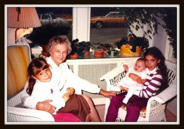 Me as a baby with cousins Molly, Jessica and Grammy